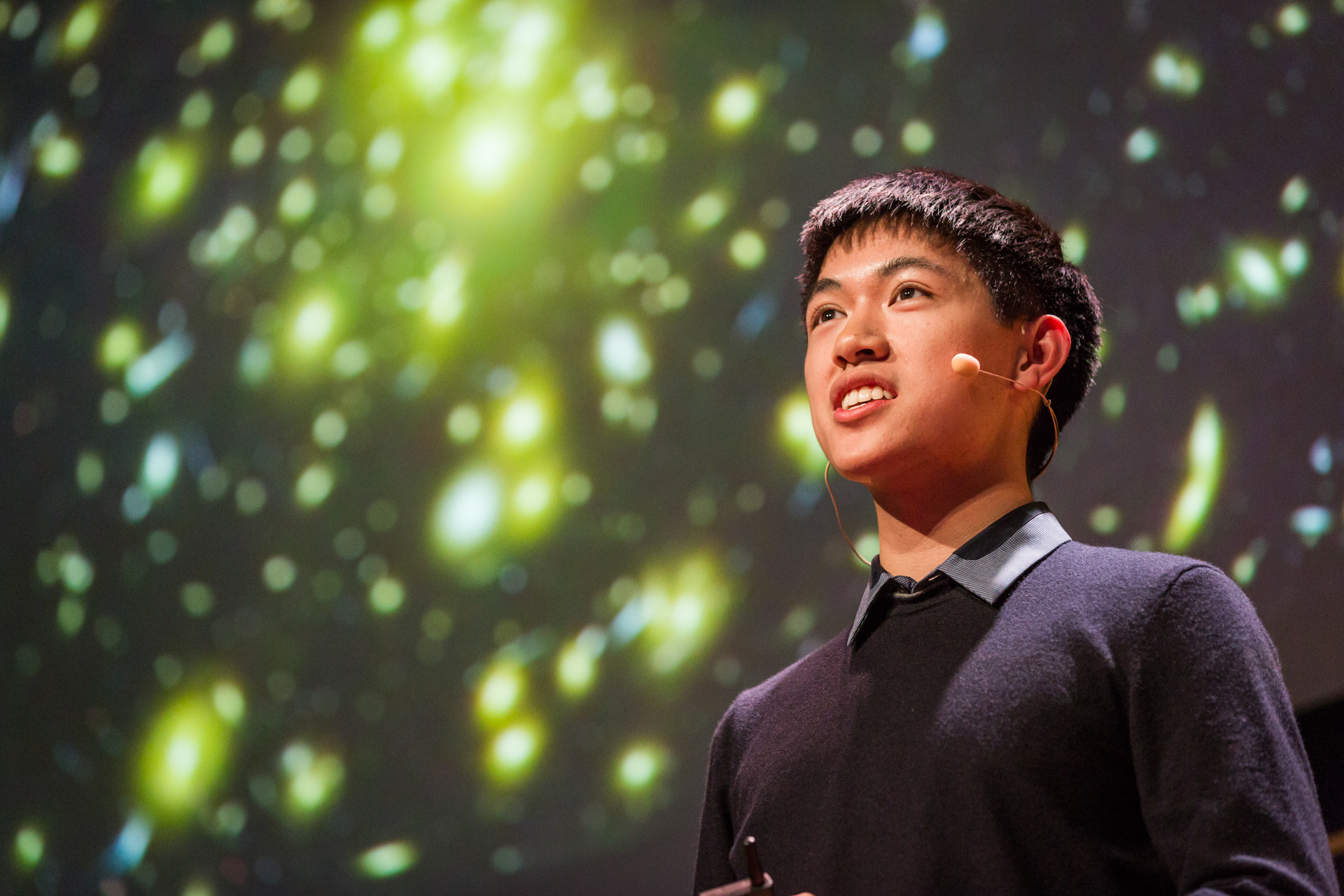 """Henry Lin, who won this year's Intel Science Fair for his models of galaxy clusters, delivers the message: """"Science is a rough draft. There is so much that baffles us and challenges our understanding."""" Photo: Ryan Lash"""