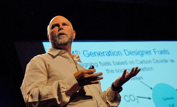 "J. Craig Venter on the TED stage. He shares his idea for a ""biological fax machine."""