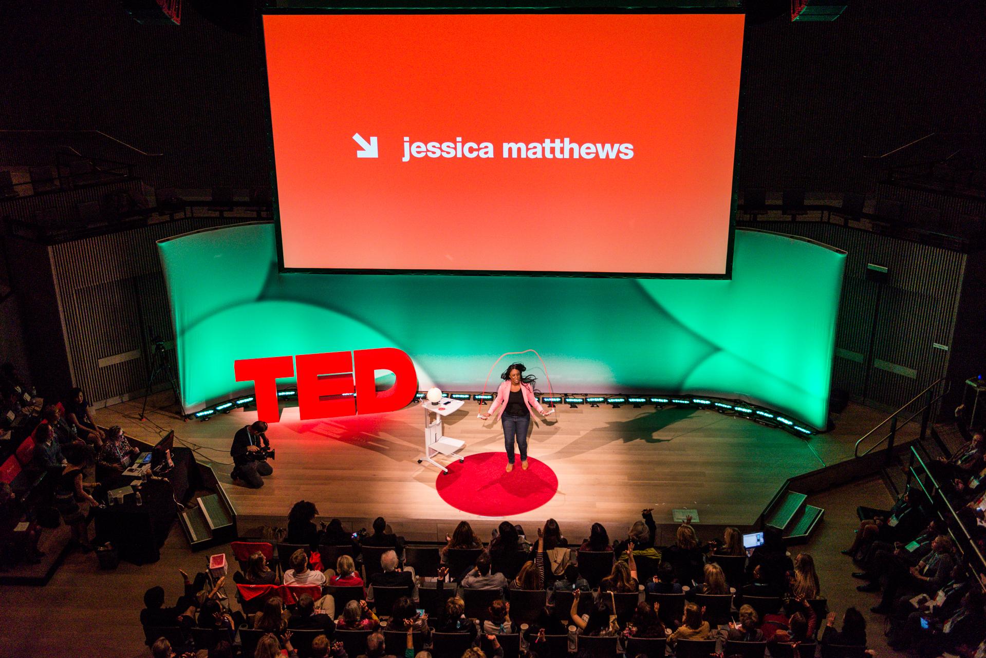 Jessica Matthews demonstrates her power-generating jumprope. Photo: Kristoffer Heacox