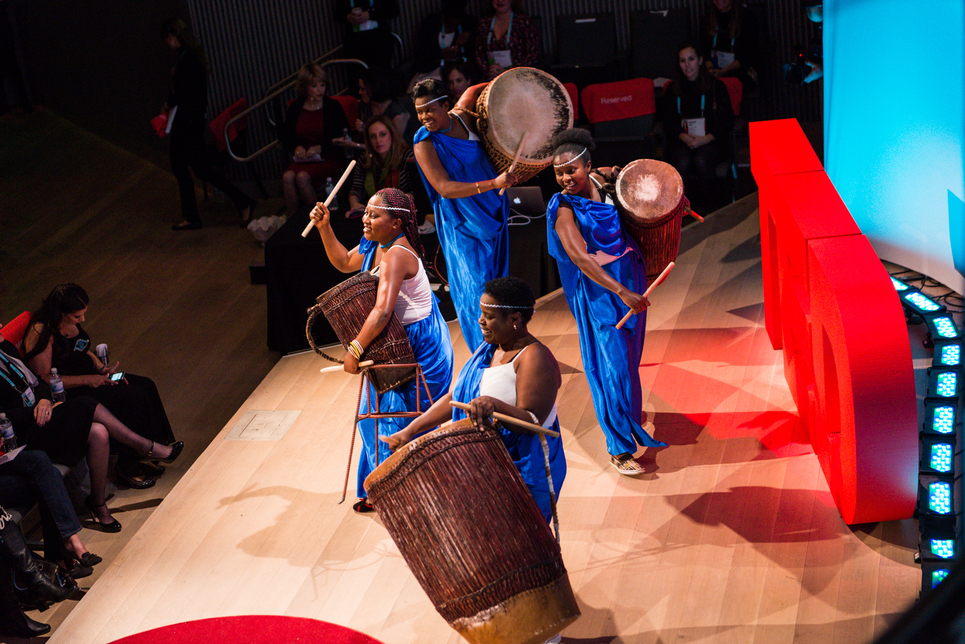 Ingoma Nshya -- the first all-female drumming troupe in Rwanda -- opened up session 3. Photo: Kristoffer Heacox