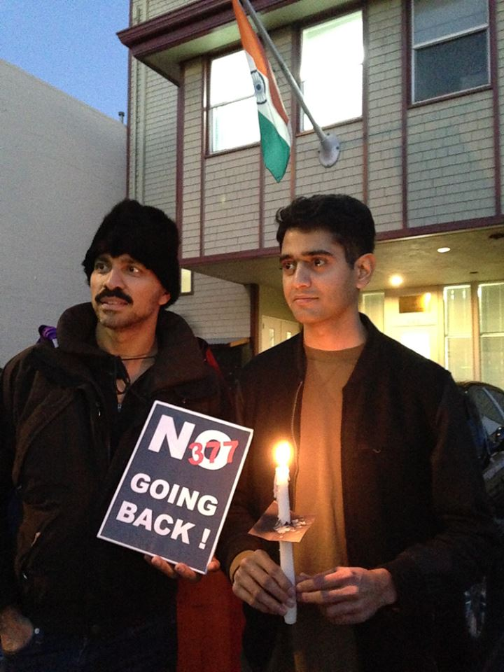 Nitin Rao (left) attending a candlelight vigil in front of the Indian embassy in San Francisco, California. 13 December 2013