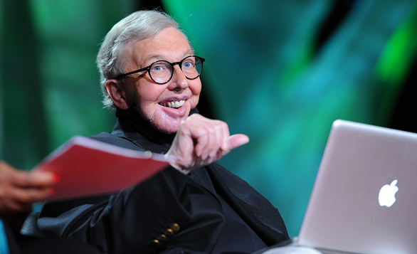 Roger Ebert speaks through his Mac at TED2011. Photo: James Duncan Davidson
