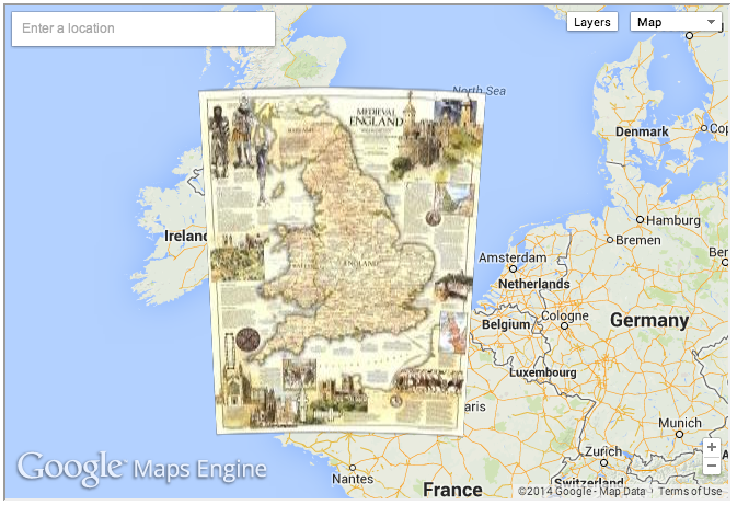A far-away view of a Google Maps/National Geographic collaboration, to show you medieval England. Click the link and scroll down the page to explore this map.