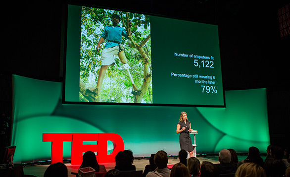 Krista Donaldson of D-Rev speaks at TEDWomen about the need for a cheap and functional prosthetic knee. Photo: Marla Aufmuth