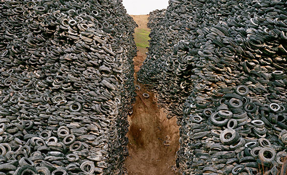 The number of tires in this photo: 556, 751. Well, not really. But this beautiful image was created by TED Prize winner Edward Burtynsky, who in 2005 wished that his artwork would spark a global conversation about sustainability. Photo: Edward Burtynsky
