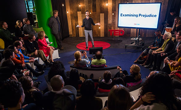 Jordan Reeves of TED-Ed hosted a session of talks in the TED office on prejudice. Photo: Ryan Lash