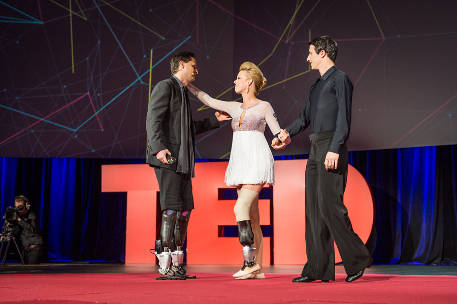 Adrianne Haslet-Davis thanks Hugh Herr on the TED stage. Photo: James Duncan Davidson