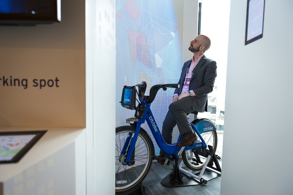 Citi for Cities is helping major metropolises solve problems. At their kiosk at TED, attendees created digital art by riding a stationary Citi Bike. The harder they pedaled, the more the color and pattern changed. Photo: James Duncan Davidson