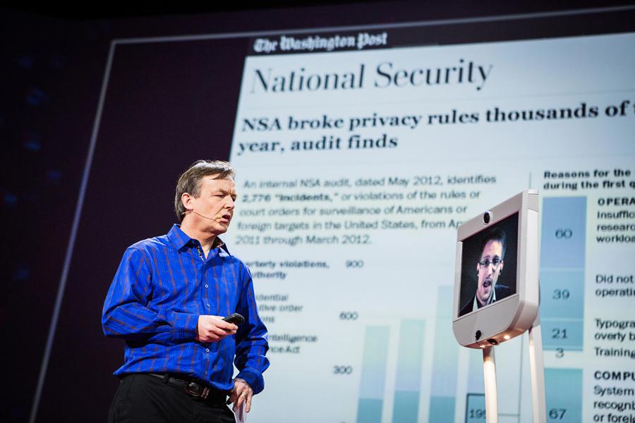 Chris Anderson interviews Edward Snowden on a telepresence robot.