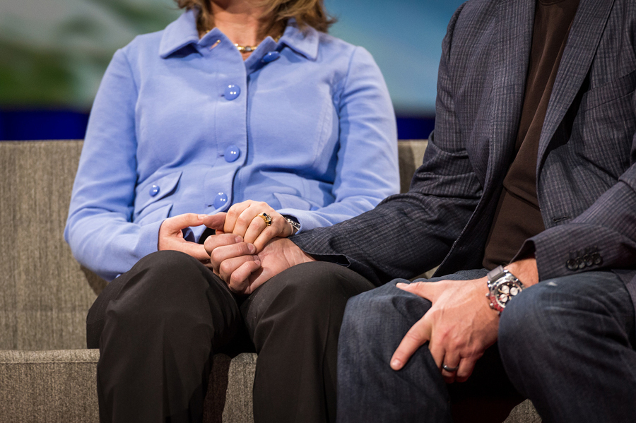 In an emotional moment, Gabby Giffords did a Q&A with husband Mark Kelly, talking about her recovery and how it has made their relationship even strong. Photo: James Duncan Davidson