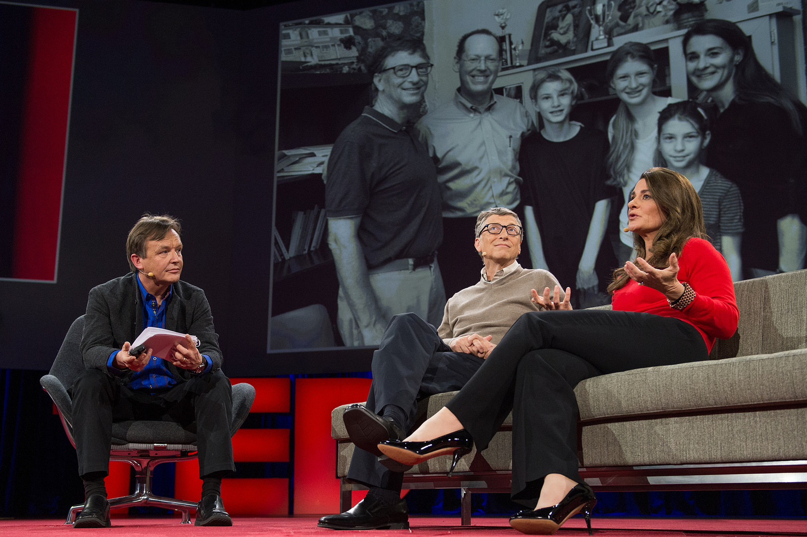 Chris Anderson interviews Bill and Melinda Gates, asking them about their lives as a couple and as parents. Photo: James Duncan Davidson