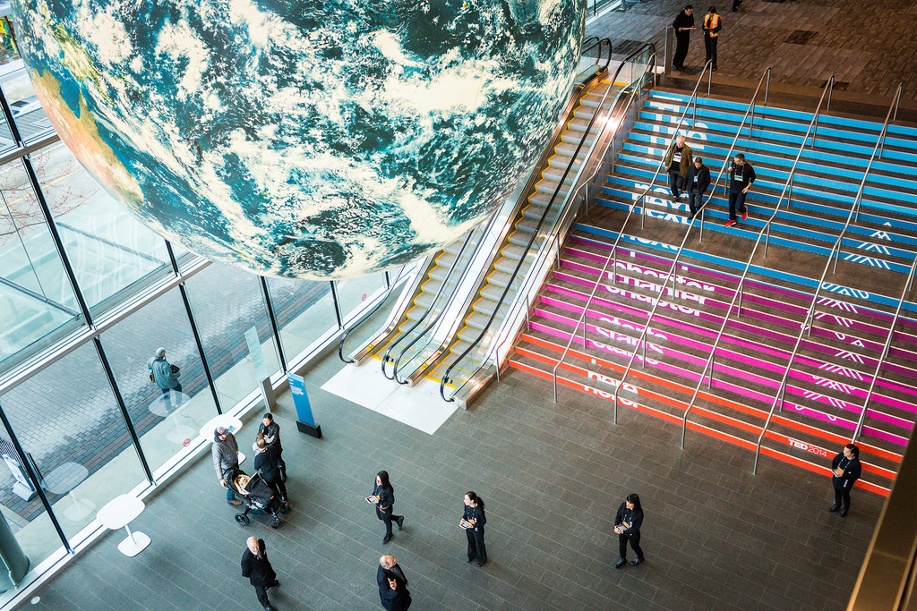 "A bird's-eye view of the lobby at the Vancouver Convention Centre, complete with spinning globe and ""The Next Chapter"" stairway. Photo: Bret Hartman"