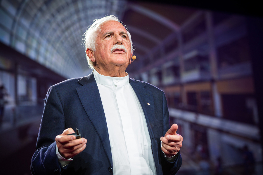 Moshe Safdie returns to the TED stage to give an All Stars update. Photo: Ryan Lash