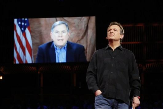 Richard Ledgett, Deputy Director, NSA, speaks with Chris Anderson via video at TED2014. Photo: Bret Hartman