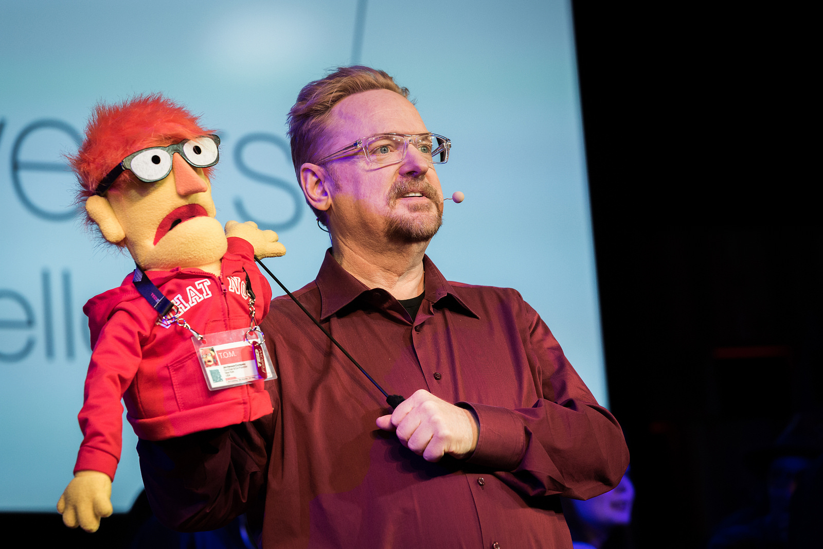 TED's own Tom Reilly is gifted with a puppet of himself during the TED Fellows sessions. Last summer, he presented a similar puppet to Fellow Asha de Vos. Photo: Ryan Lash