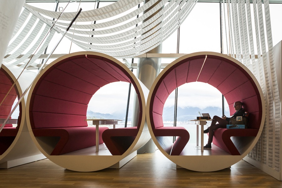 An attendee lounges in the Target Design Café. Photo: Bret Hartman