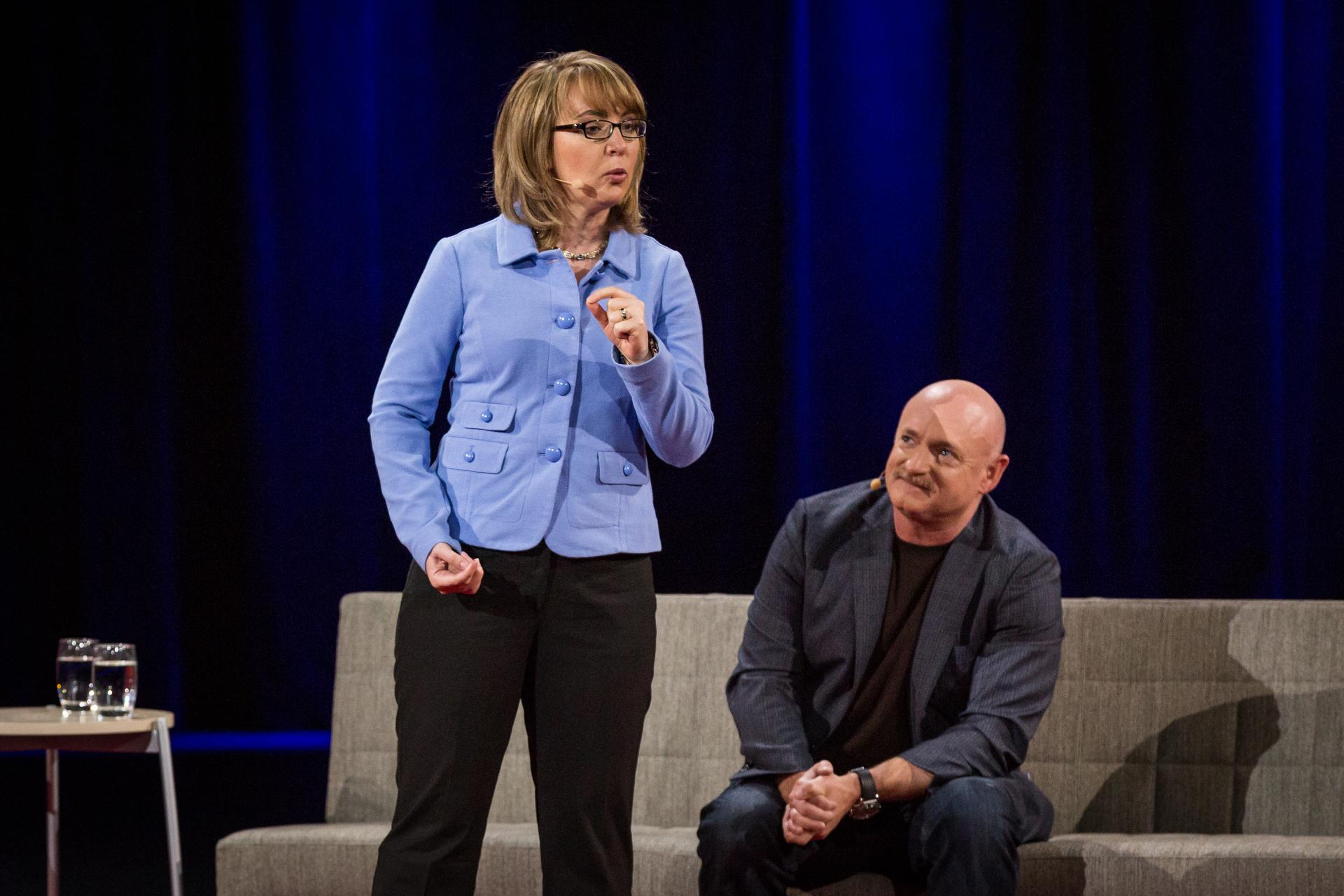 (L-R) Gabby Giffords and Mark Kelly. Photo: Ryan Lash
