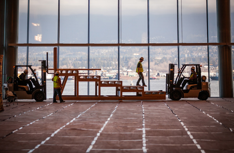 One of the first pieces of the theater gets assembled in the Vancouver Convention Centre. Photo: Mike Femia