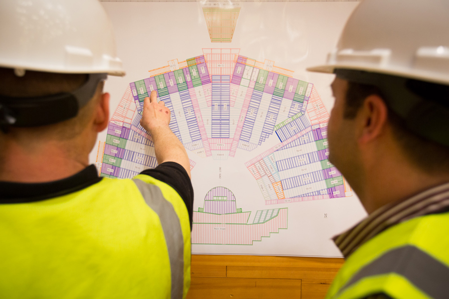 An over-the-shoulder look at the plans as construction begins. Photo: Ryan Lash