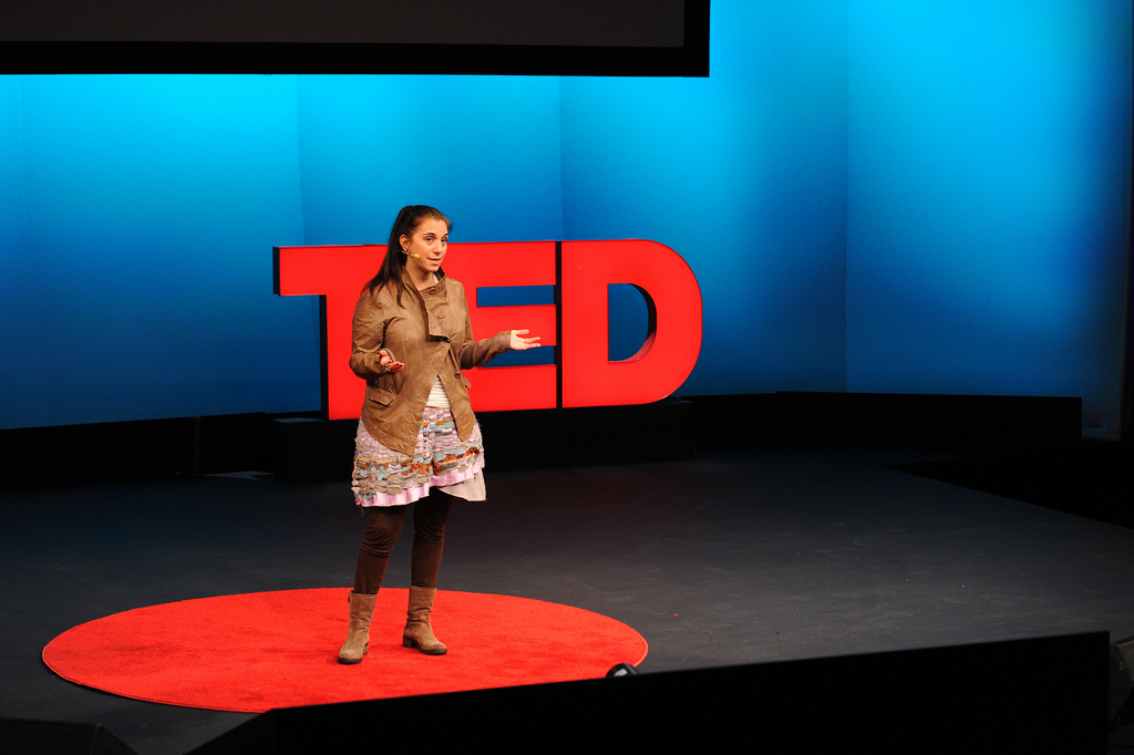 Nancy Lublin clarifies the idea behind Crisis Text Line at TED U in 2012. Photo: James Duncan Davidson