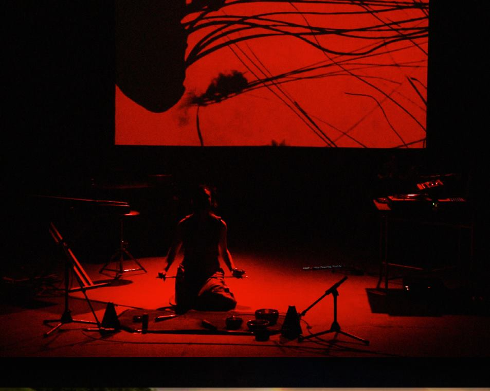 "Audio Butoh sequence ""Little Box of Horrors"" from staged multimedia version of Sunken Cathedral.   Video projection design by Adam Larsen.  Photo:  Singapore Arts Council"