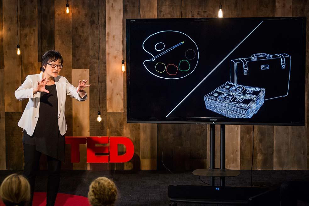 Ruth Chang gives a talk on the dynamics of hard choices. Photo: Ryan Lash
