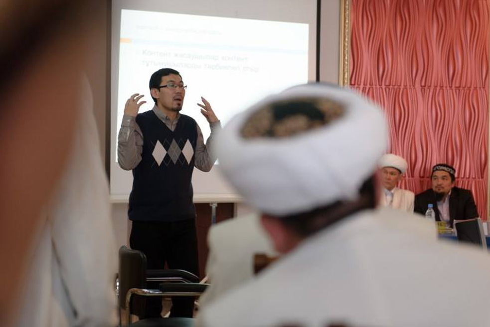 Asqat Yerkimbay leads a training session for local imams in Kostanay. Photo: Courtesy of Asqat Yerkimbay trains local journalists in how to get involved in global conversations. He also uses the TED Open Translation Project to revive his language, Kazakh. Photo: Courtesy of Asqat Yerkimbay