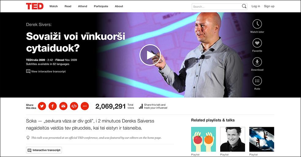 Derek Siver's TED Talk translated in Latgalian.