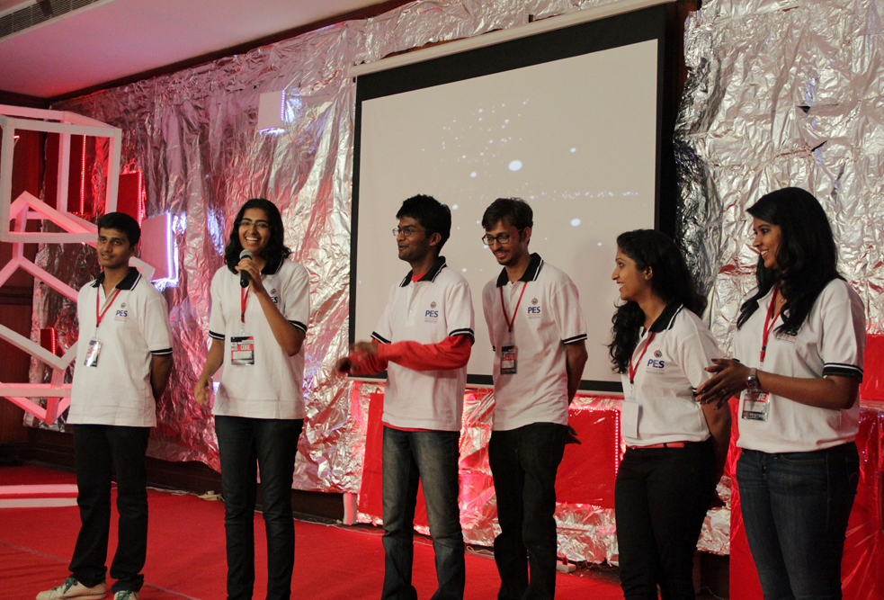 Seema Raman (on the near left) on the TEDxPESITBSC stage. Photo: Courtesy of TEDx