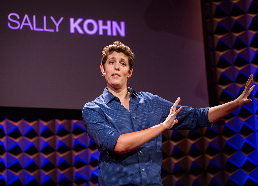 Sally Kohn opens TED@NYC with a plea for us to think of each tweet we write and each headline we click on as an act of media creation. Photo: Ryan Lash