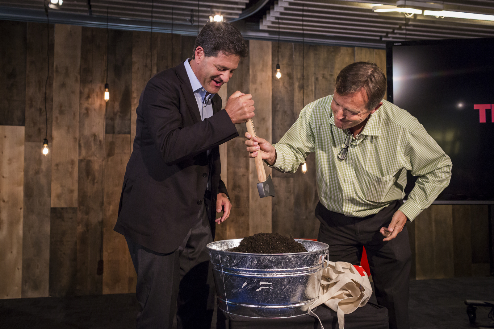 At TED@250, an in-office event held last week, Nick and Chris officially buried the hatchet. Photo: Ryan Lash