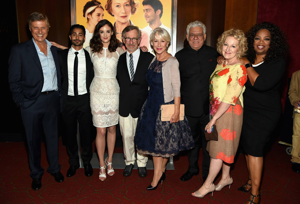 Manish Dayal (near left) and Juliet Blake (near right) at the premiere of The Hundred-Foot Journey in New York last night. With (from left to right): director Lasse Hallstrom, Charlotte Le Bon, Steven Spielberg, Helen Mirren, Om Puri, and Oprah Winfrey. Photo: Courtesy of Juliet Blake