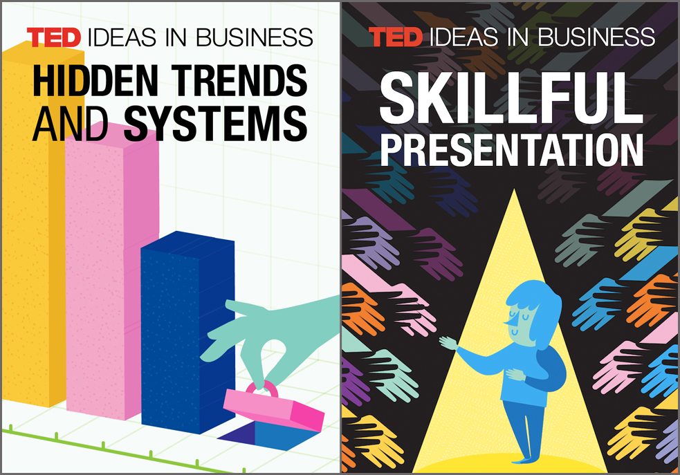 """TED Ideas in Business are playlists that bring together talks of interest to professional audiences. Here, the art for """"Hidden Trends and Systems"""" and """"Skillful Presentation."""""""