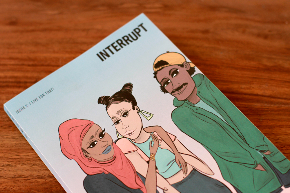 "The cover illustration for issue four, ""I Live For That!"" was made by Mohammed ""MoJuicy"" Fayaz. In an editors' note, Project SOL and HOLAAfrica! write ""This issue is an effort to represent the way we see the world and ourselves. It is not meant to speak for all LGBTQ youth, but we hope to inspire people to create their own stories and media."" Photo: Becky Chung"