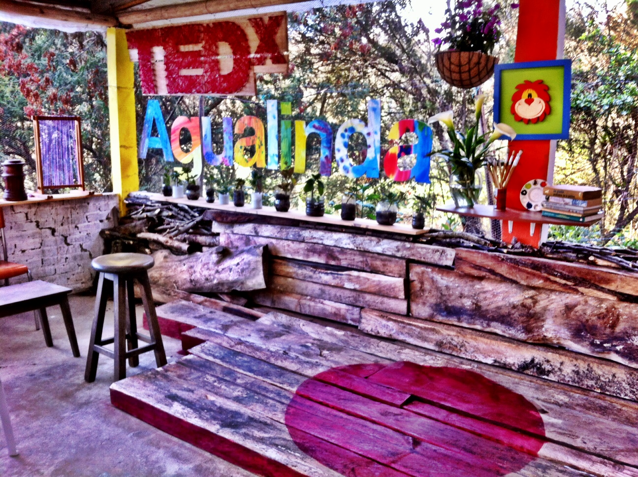 The very colorful stage of TEDxAguaLinda, one of the 10 events that Philipe Spath has helped organize in Colombia. Photo: Courtesy of Philipe Spath