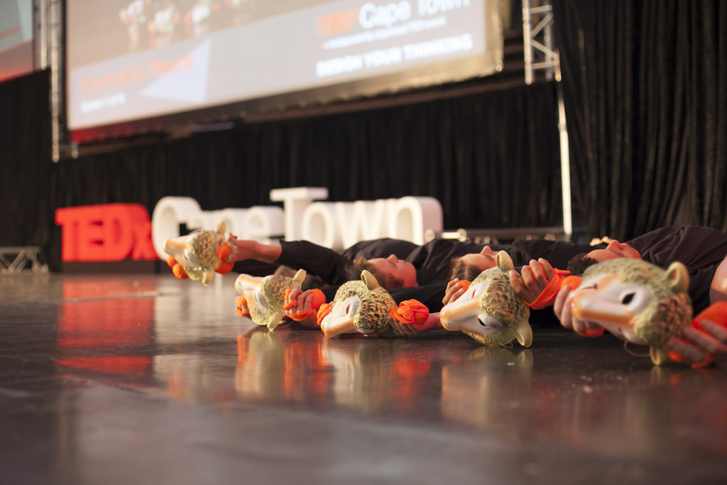 Performers at TEDxCapeTown, complete with sheep masks. Photo: Courtesy of TEDxCapeTown