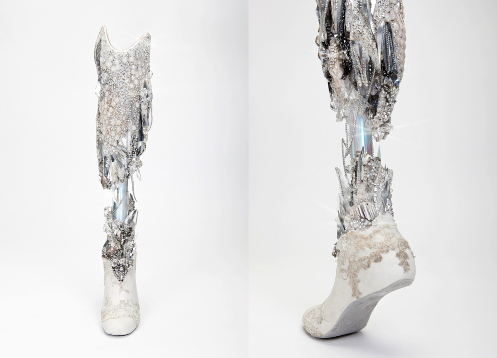 A crystallizedlLeg created by Sophie de Oliveira for Viktoria Modesta, who was playing the Ice Queen at the London 2012 Paralympic Closing ceremony. It was fitted at Queen Mary's Hospital. Photo: Omkaar Kotedia