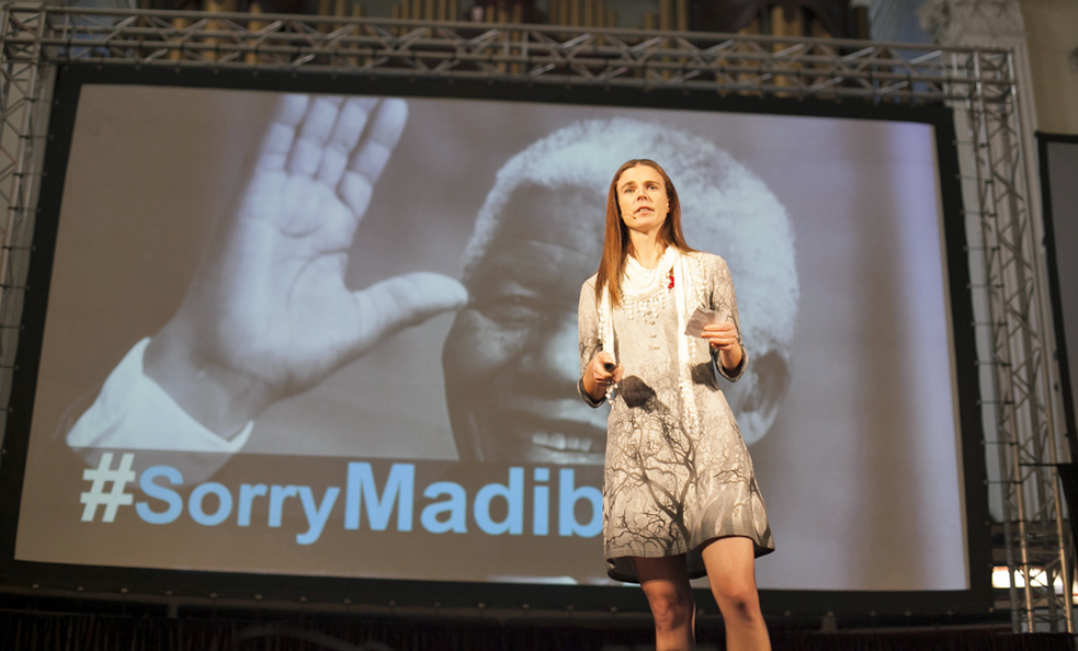 At TEDxCapeTown,  speaker Kirsten Wilkins  brings up the hashtag #sorryMadiba. Photo: Courtesy of TEDxCapeTown