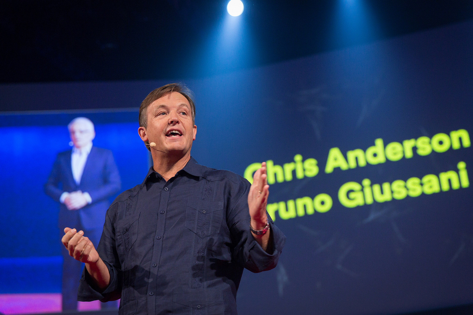 Chris Anderson and Bruno Gussani hosted TEDGlobal 2014. Photo: James Duncan Davison