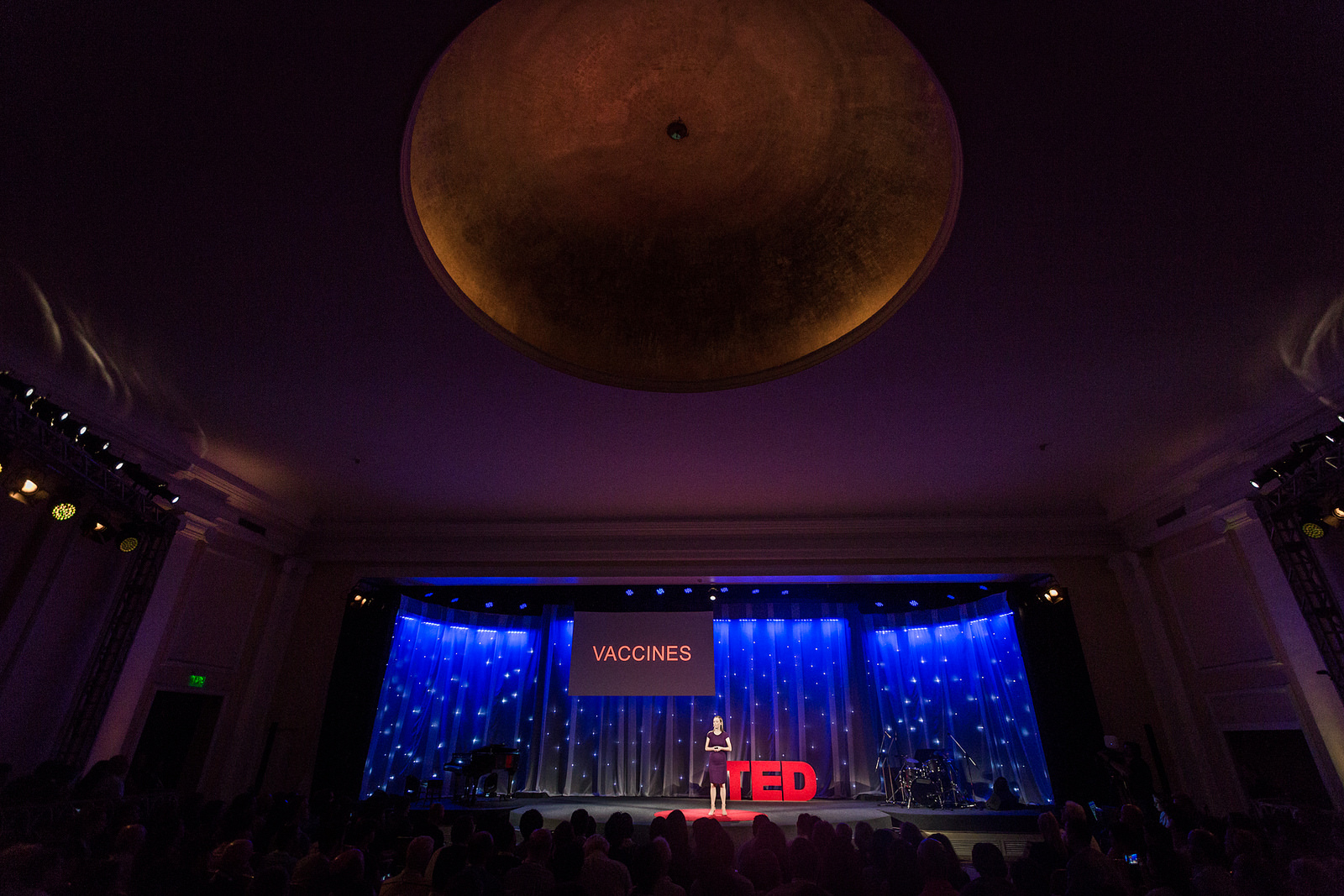 Neuroscientist Catharine Young talks vaccines during the TED Fellows sessions. Photo: Ryan Lash