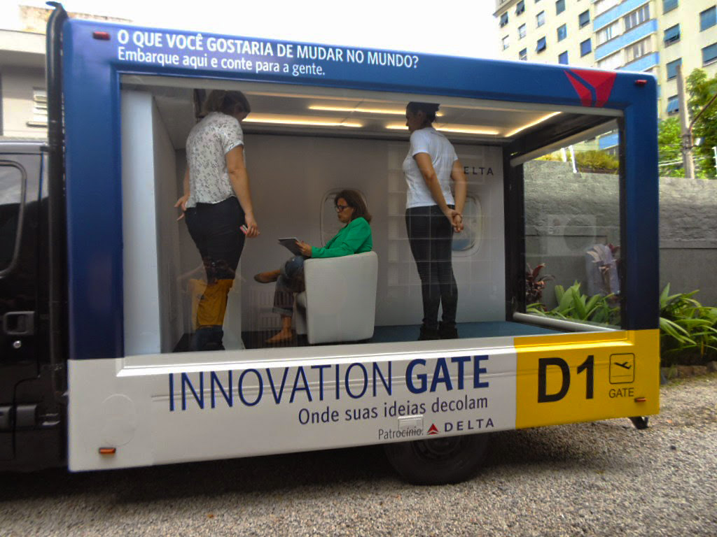 Delta's Innovation Gate is traveling around Sao Paulo, capturing great ideas from students and entrepreneurs. Photo: Courtesy of Delta