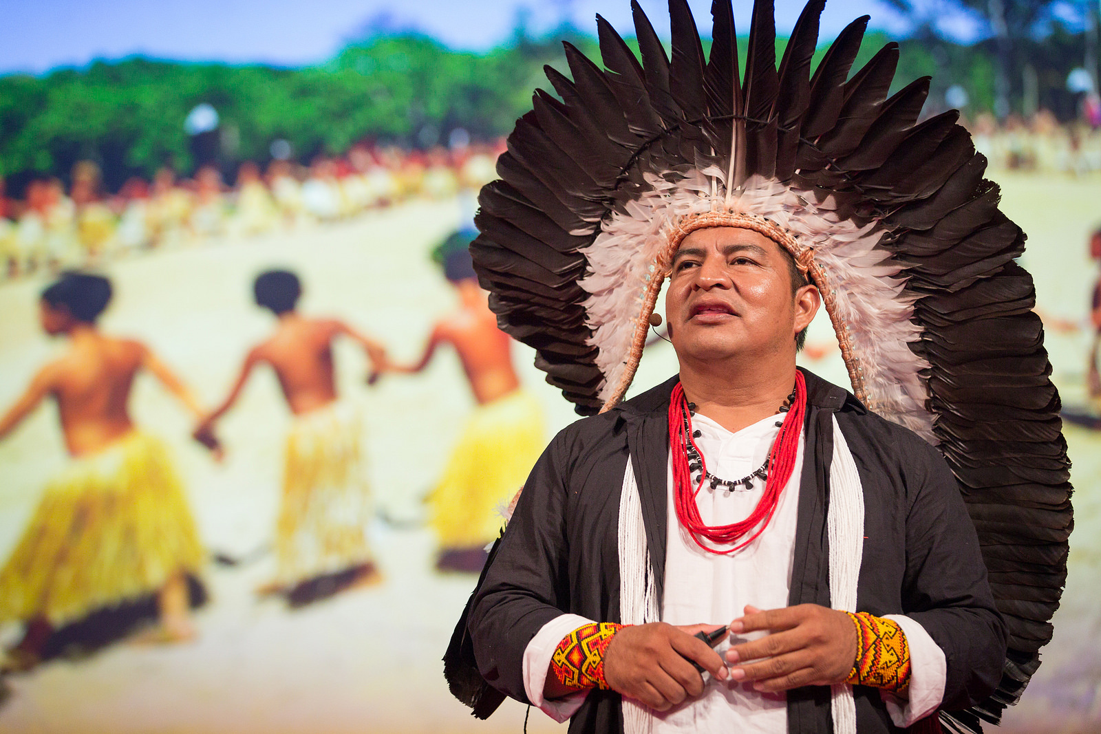 Tashka Yawanawá, chief of the Yawanawá people, spoke in session 1. He started his talk with a chant that's traditional to his people. Photo: James Duncan Davidson