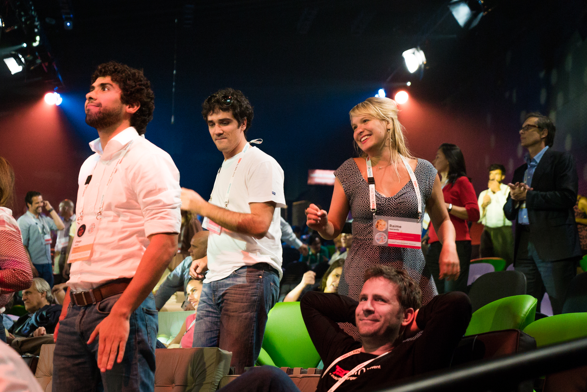 Audience members dance to music by Casuarina at TEDGlobal 2014.