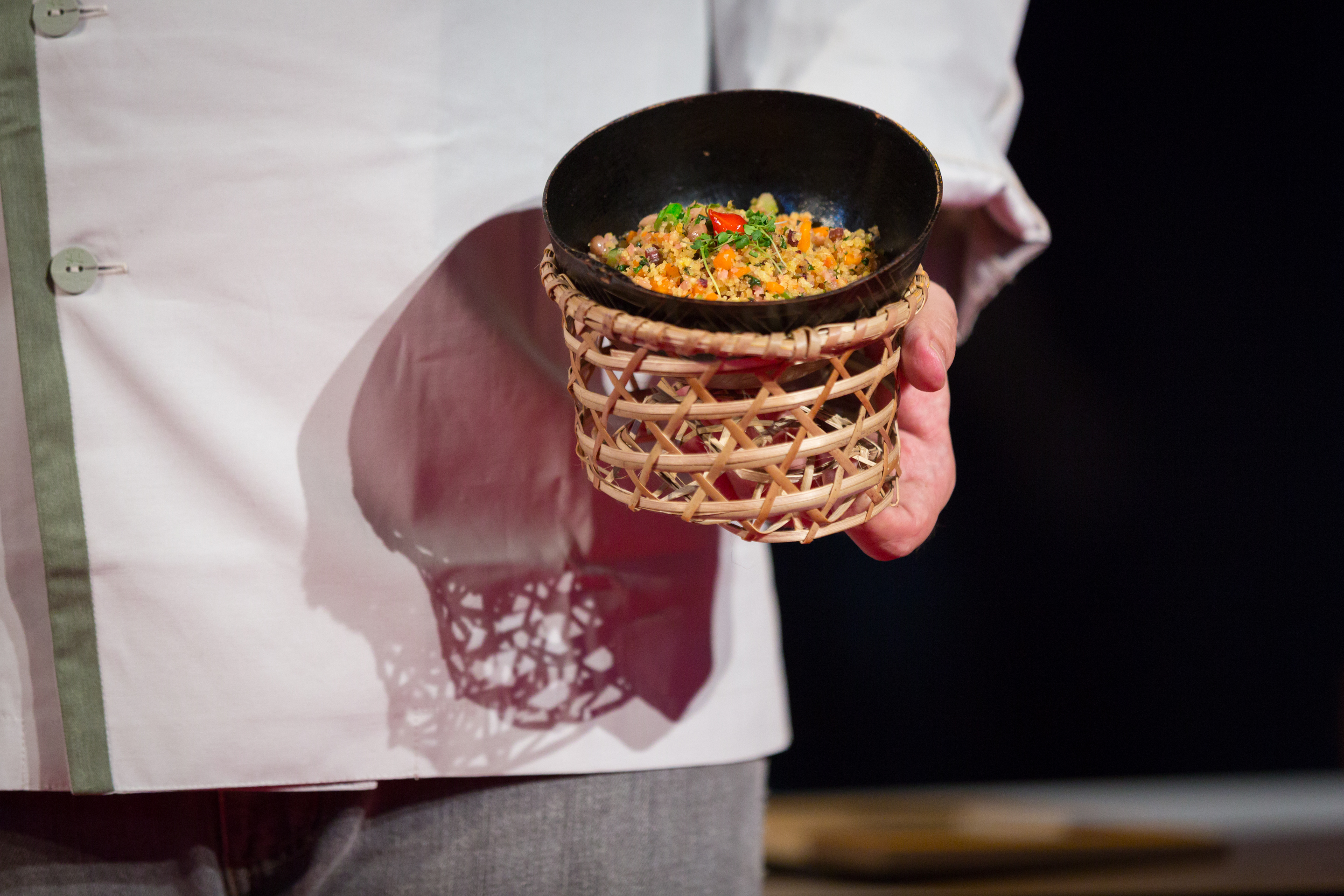 Close-up of Trooper's Beans, the manioc dish prepared during Teresa Corcao's talk. Photo: James Duncan Davidson/TED