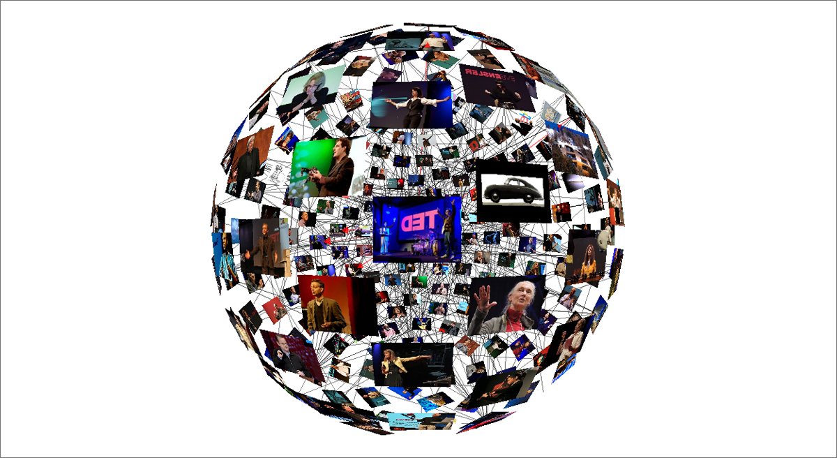 """Take the """"TED Video Sphere"""" for a spin—literally— by clicking on the image. Created by: Santiago Ortiz"""