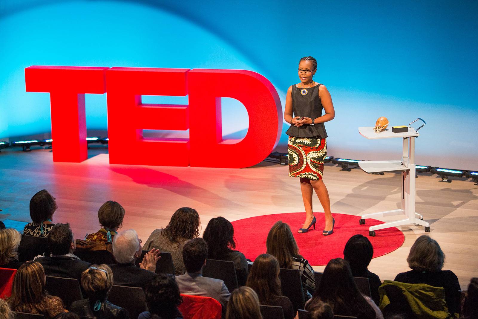 Juliana Rotich on the TED stage. Photo: Marla Aufmuth/TED