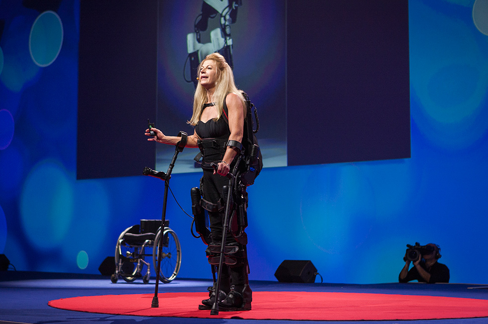 Amanda Boxtel has been in a wheelchair for more than two decades. At the TEDCity2.0 Salon, she showed how a bionic exoskeleton body suit helps her watch. Photo: TK/TED
