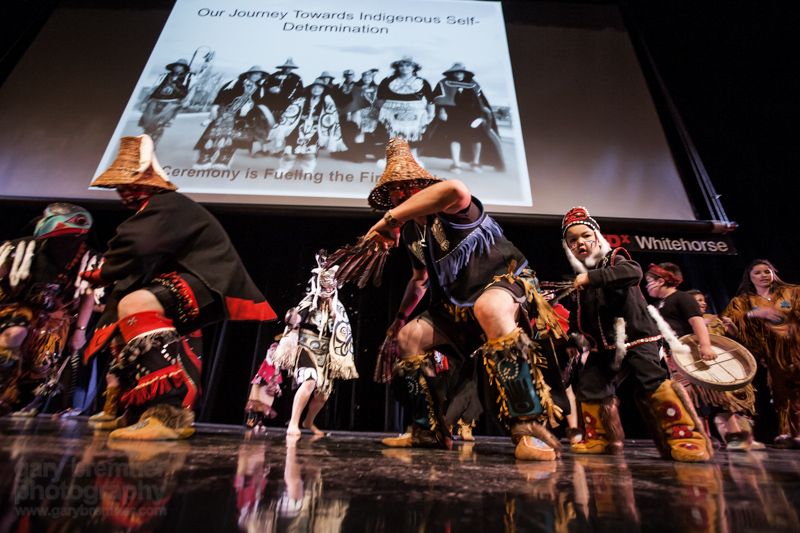 The Dakhká Khwáan Dancers perform at TEDxWhitehorse. This traditional Inland Tlingit dance group is based in Yukon, Canada. Photo: Gary Bremner/TEDxWhitehorse