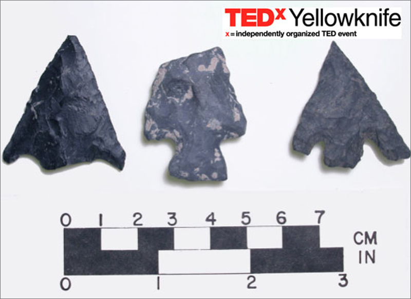 A promotional image for TEDxYellowknife showcases arrowheads.