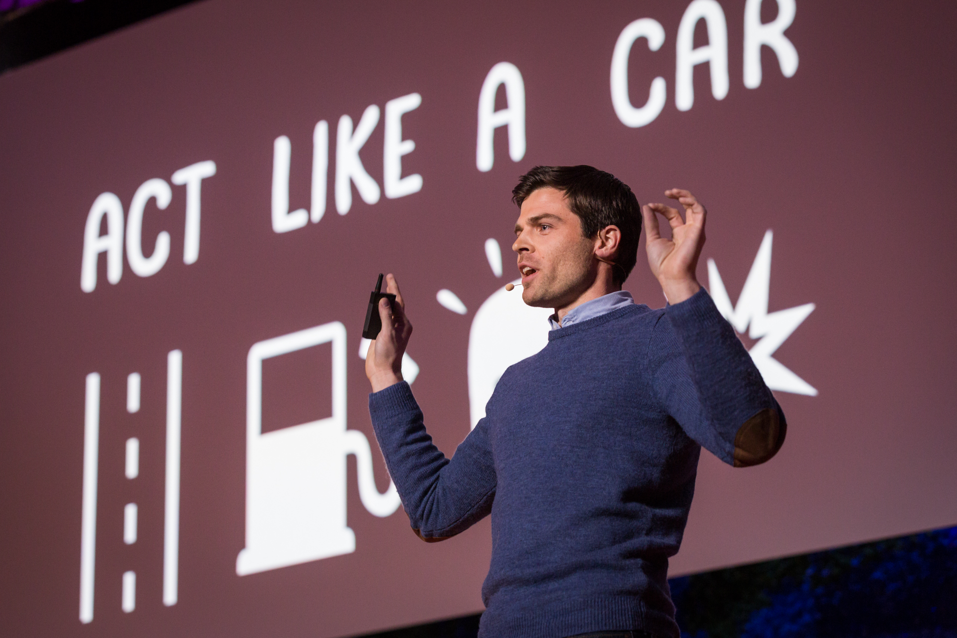 """Nathan W. Pyle's motto for New York City sidewalks: """"Act like a car."""" Photo: Ryan Lash/TED"""